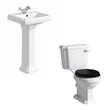 Dulwich toilet suite with black seat and full pedestal basin 500mm