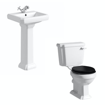 The Bath Co. Dulwich toilet suite with black seat and full pedestal basin 500mm