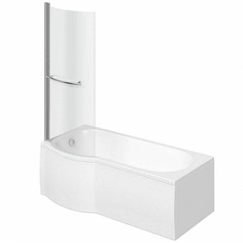 P shaped left handed shower bath 1675mm with 6mm shower screen and rail