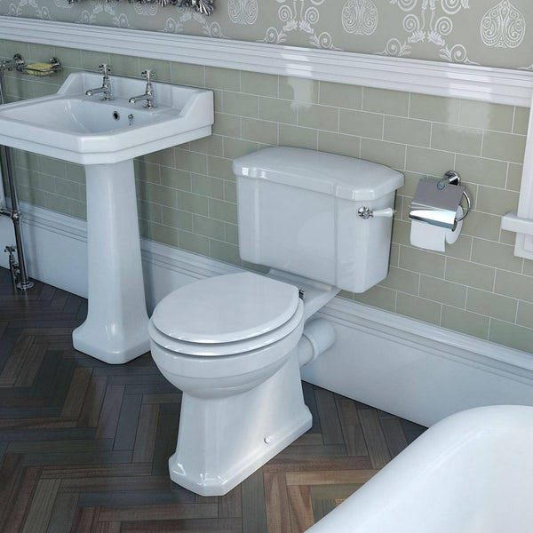 The Bath Co.Camberleyclose coupled toilet and cloakroom basin suite with tap and waste