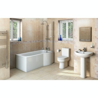 Orchard Wharfe bathroom suite with right handed P shaped shower bath 1675 x 851