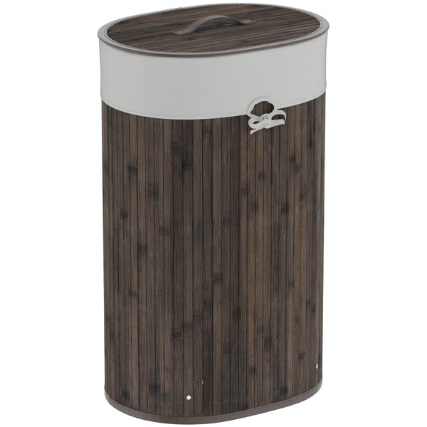 Natural bamboo dark brown oval laundry basket