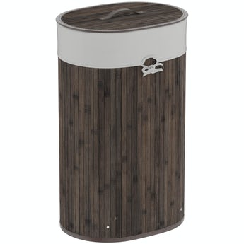 Orchard Natural bamboo dark brown oval laundry basket