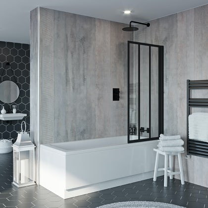 Jacuzzi Loft black framed hinged shower bath screen