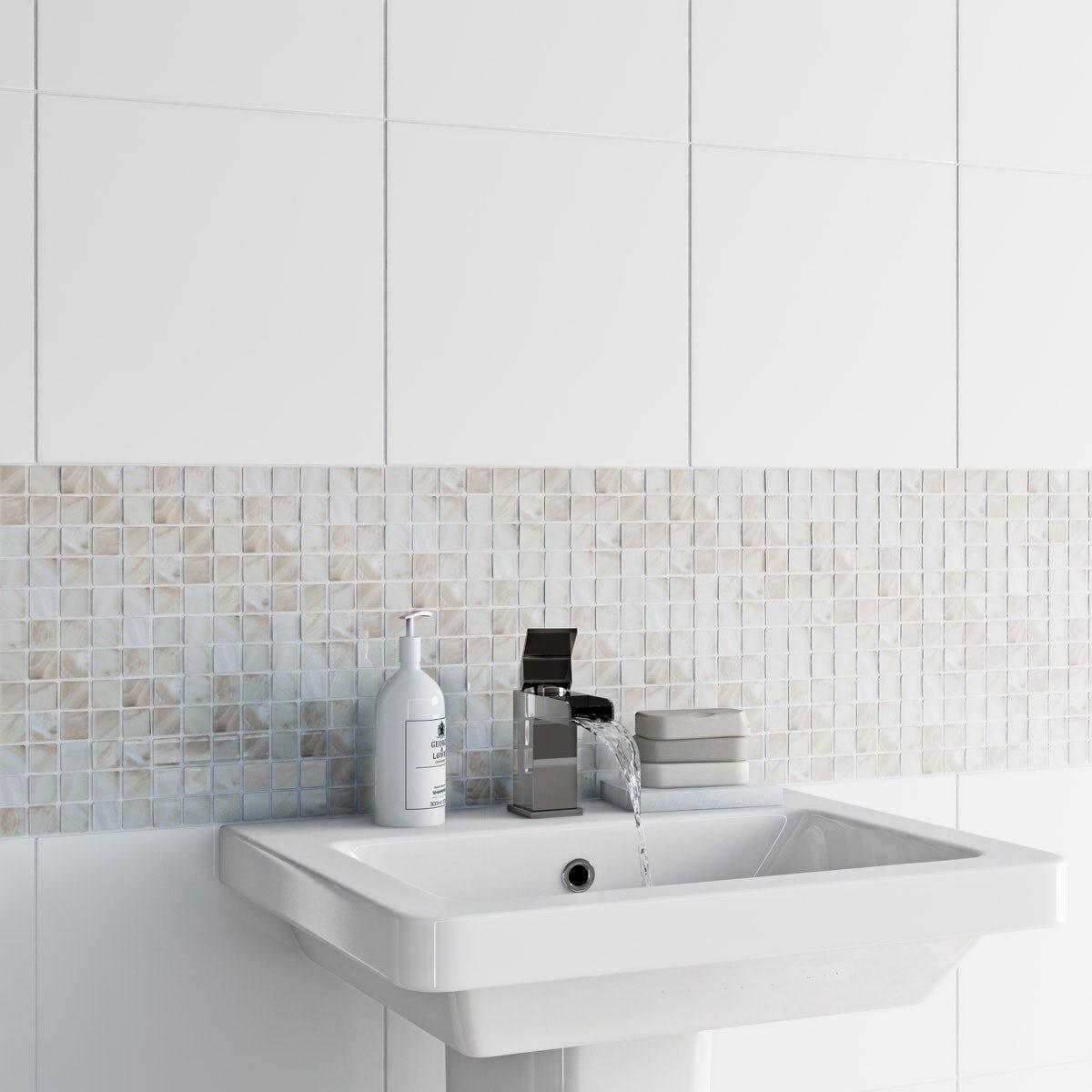 British Ceramic Tile Mosaic pearl tile 300mm x 300mm - 1 sheet ...