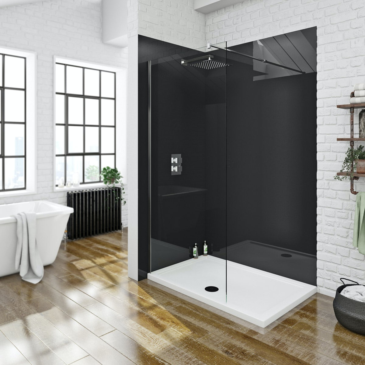 Zenolite plus jet acrylic shower wall panel 2070 x 1000