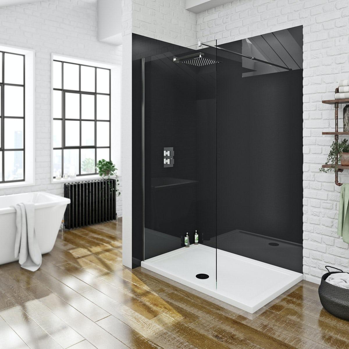 Zenolite plus jet acrylic shower wall panel 2070 x 1000 ...