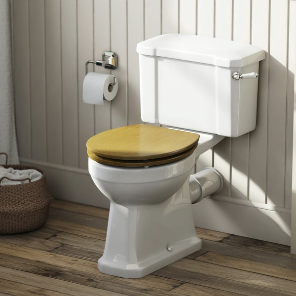 Camberley Close Coupled Toilet inc Luxury Solid Oak Seat