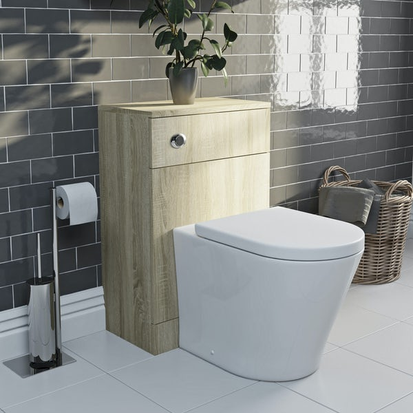 Eden oak slimline back to wall unit with Mode Arte toilet