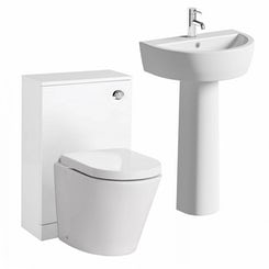 Arc back to wall toilet and unit with full pedestal basin suite 550mm