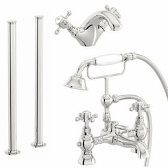 The Bath Co. Coniston basin and freestanding bath shower mixer tap pack