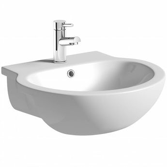 Maine 1 tap hole semi recessed countertop basin 545mm with waste