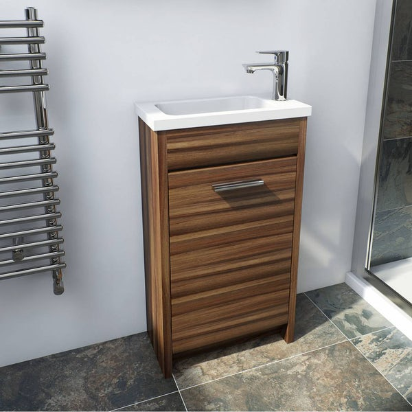 Clarity walnut cloakroom unit with Eden close coupled toilet