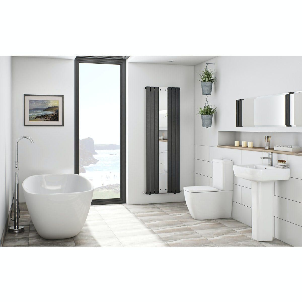 Mode ellis bathroom suite with freestanding bath for Bathrooms b q suites