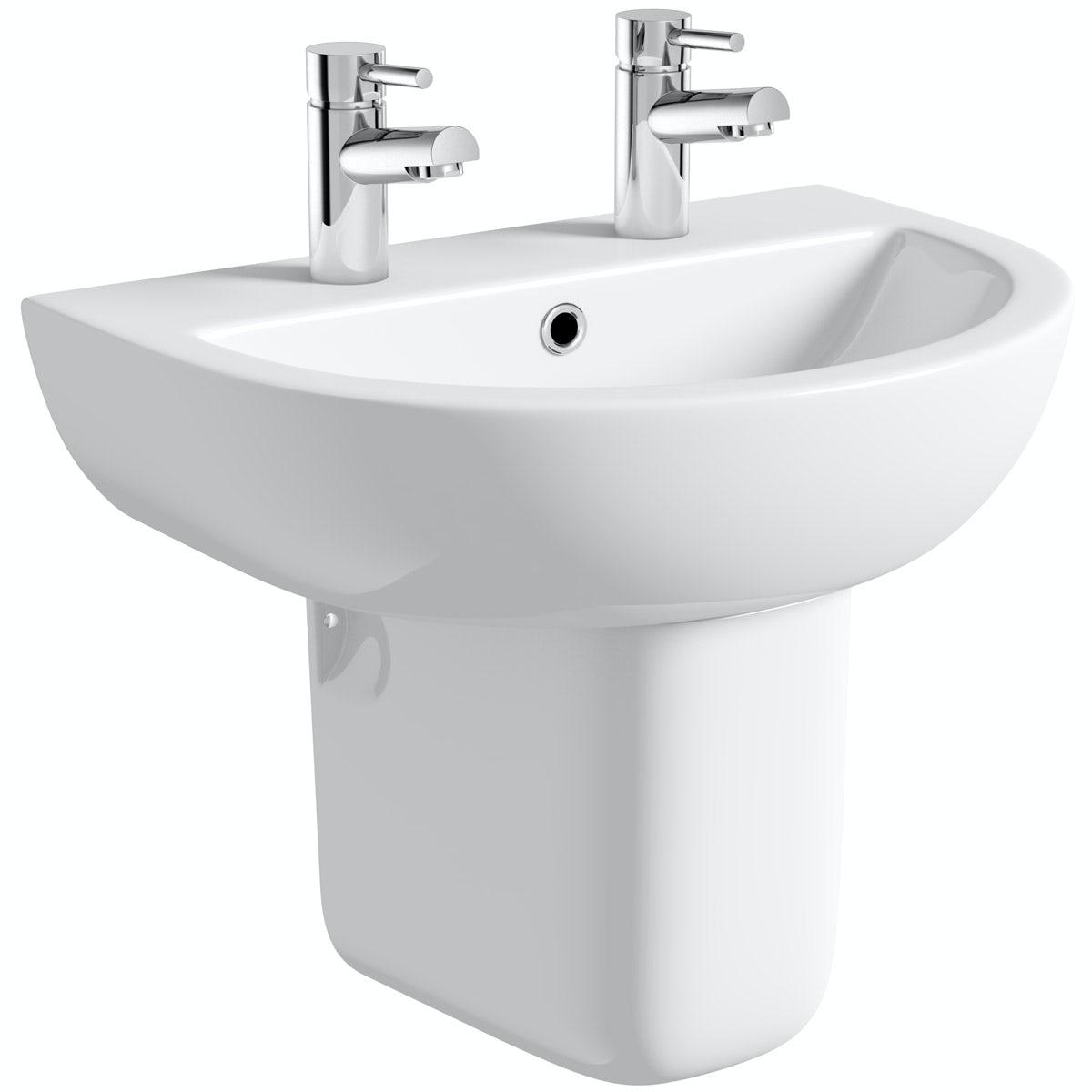 Orchard Elena 2 tap hole semi pedestal basin 450mm
