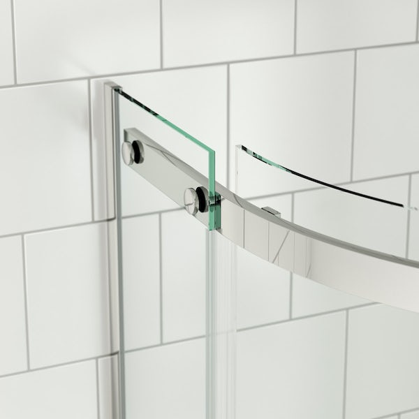 SmarTap white smart shower system with Mode 8mm frameless quadrant shower enclosure