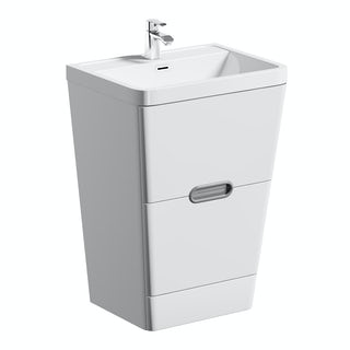 Sherwood white 600 floor standing vanity unit and resin basin