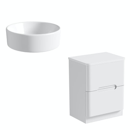 Mode Ellis white countertop drawer unit 600mm with Calhoun basin