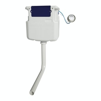 Pneumatic concealed toilet cistern with round push button