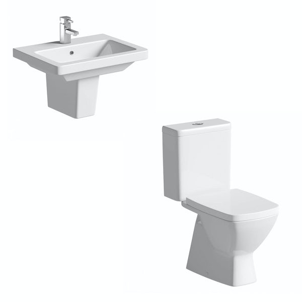 ModeCoopercomplete cloakroom suite with semi pedestal basin 550mm, tap and waste