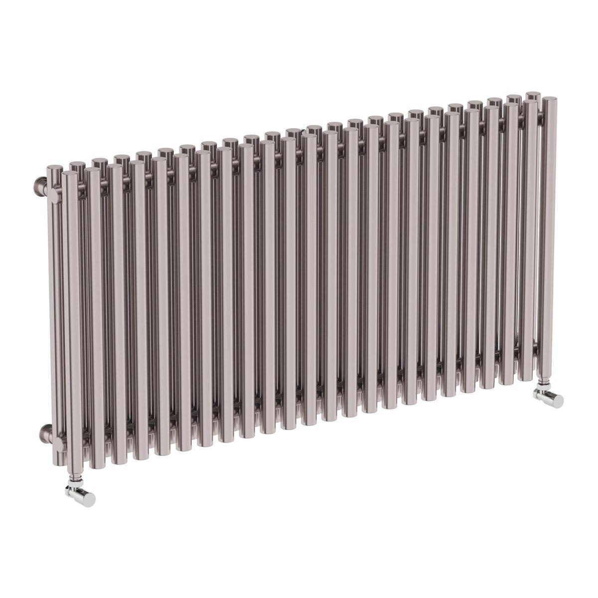 Terma Tune matt nickel double horizontal radiator 600 x 1190