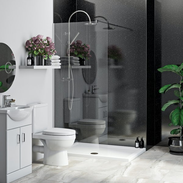 Multipanel Economy Moonlit Quartz shower wall panel installation set for enclosures up to 1000 x 1000
