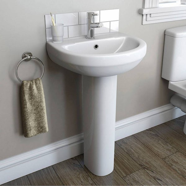 Eden back to wall toilet and white toilet unit with full pedestal basin 550mm