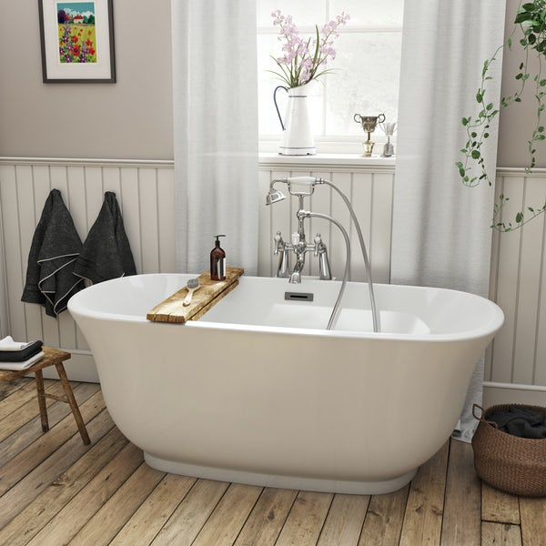 The Bath Co. Camberley black suite with freestanding slipper bath