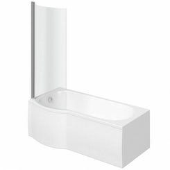 Evesham left handed P shaped shower bath 1675mm with 6mm shower screen