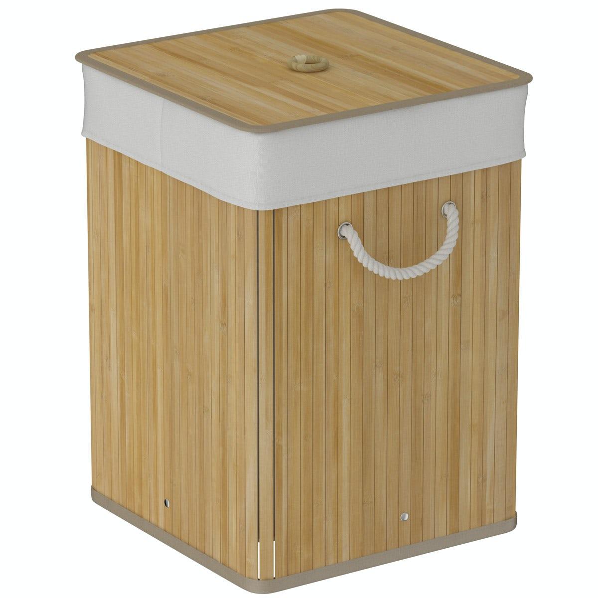 Natural bamboo square laundry basket