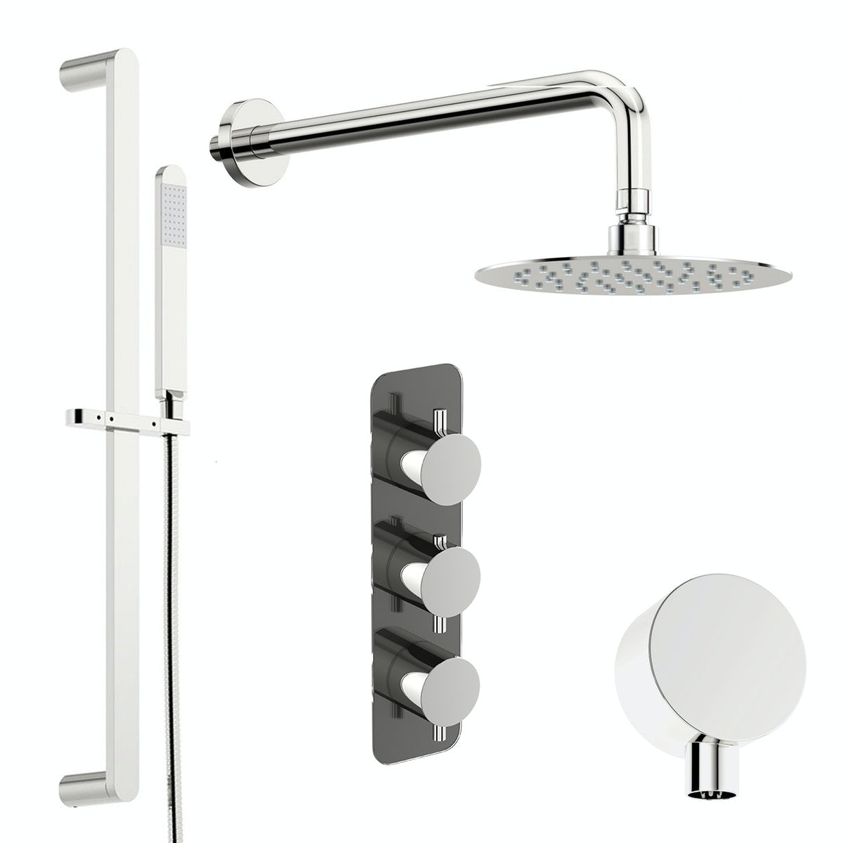 Mode Heath thermostatic shower valve with slider rail and wall shower set