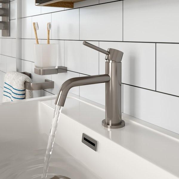 Mode Spencer round brushed nickel basin mixer tap offer pack