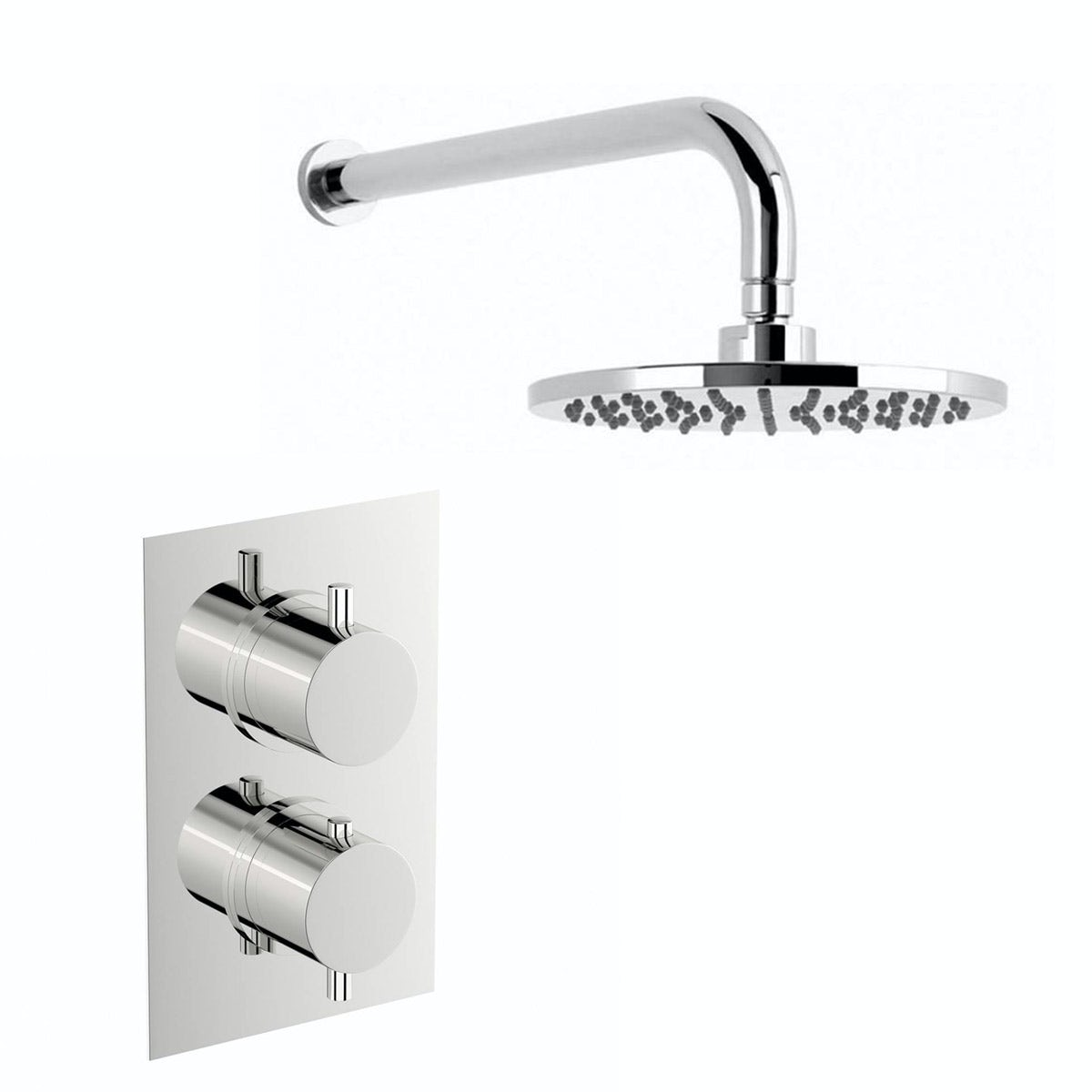 Mode Matrix square twin thermostatic shower valve with round wall shower set