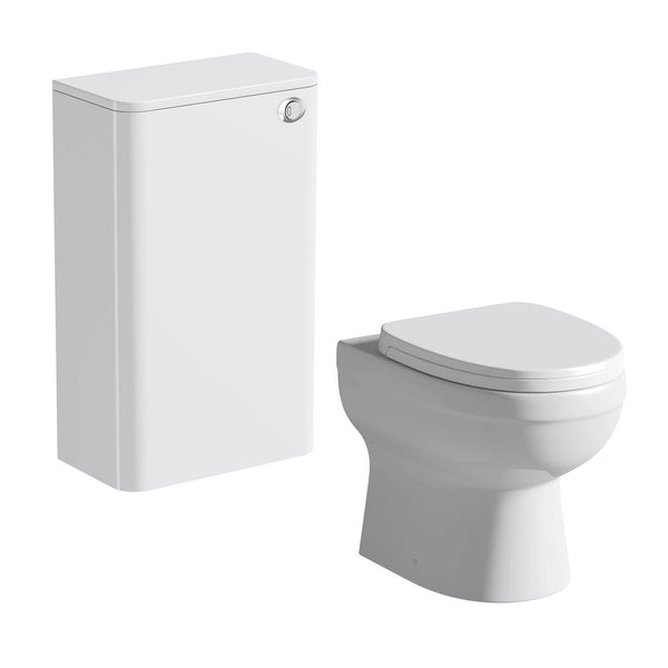 Mode Ellis white back to wall toilet unit and contemporary toilet with seat