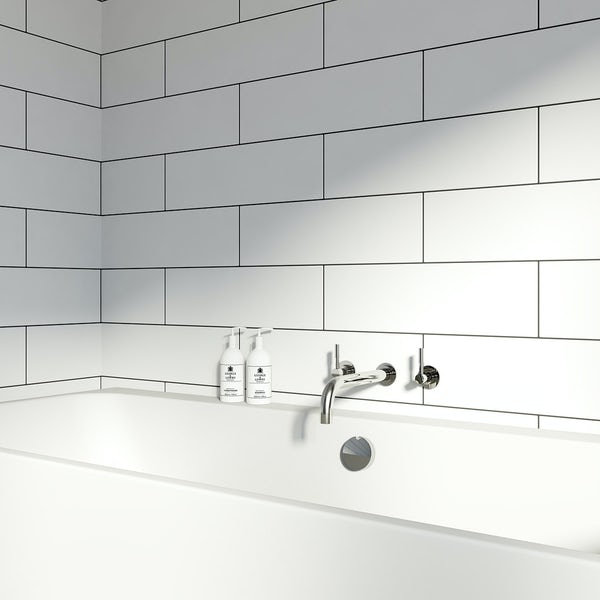 British Ceramic Tile Maxi Metro Pure white matt tile 148mm x 498mm