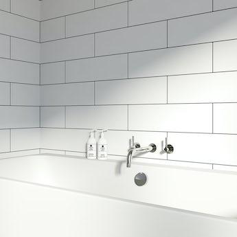Maxi Metro Pure white matt tile 148mm x 498mm