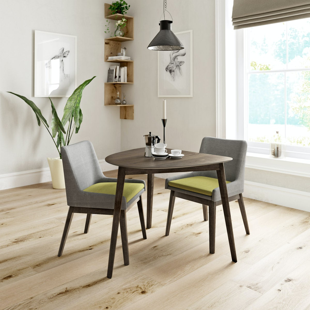 Harrison Walnut Table with 2x Lincoln grey/green chairs