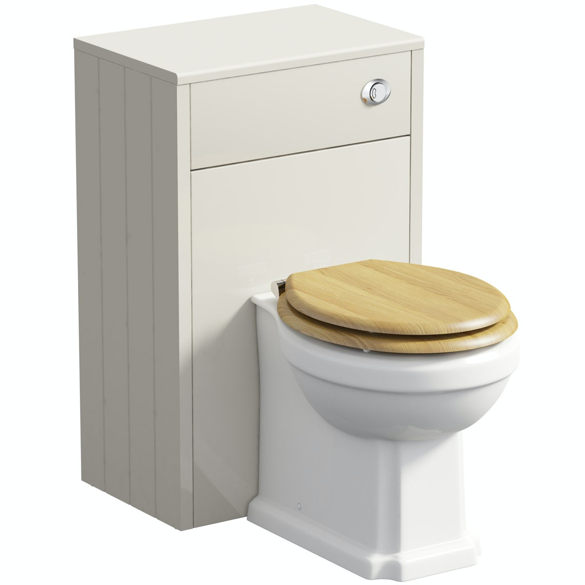 The Bath Co. Dulwich stone ivory back to wall unit and toilet with oak effect seat