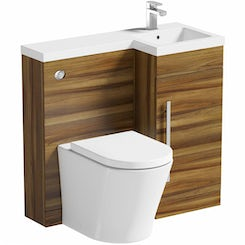 MySpace walnut right handed unit with Arc back to wall toilet