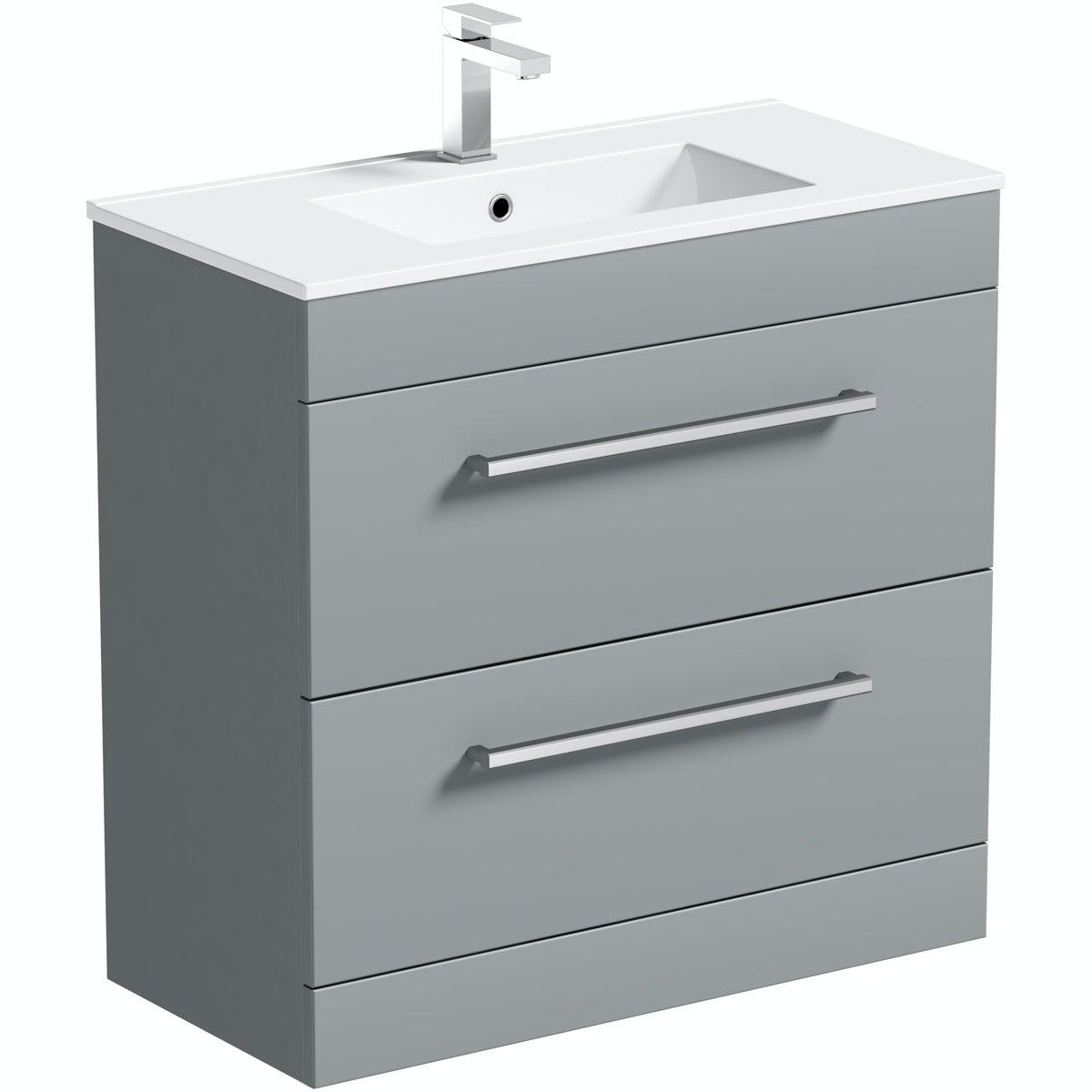 Orchard Derwent grey vanity drawer unit and basin 800mm