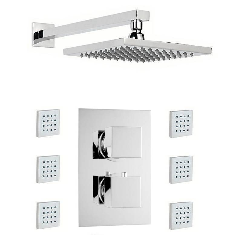 Mode Ellis thermostatic twin shower valve with body jets and shower head set