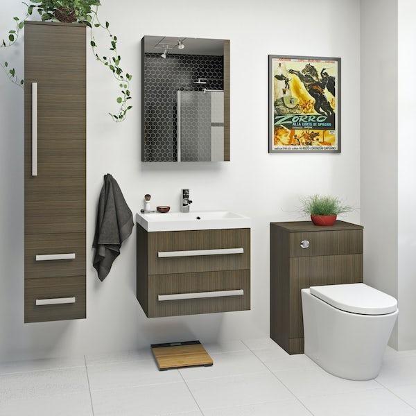 Orchard Wye walnut wall hung vanity unit with basin 600mm