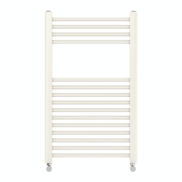 Eden round white heated towel rail 800 x 490