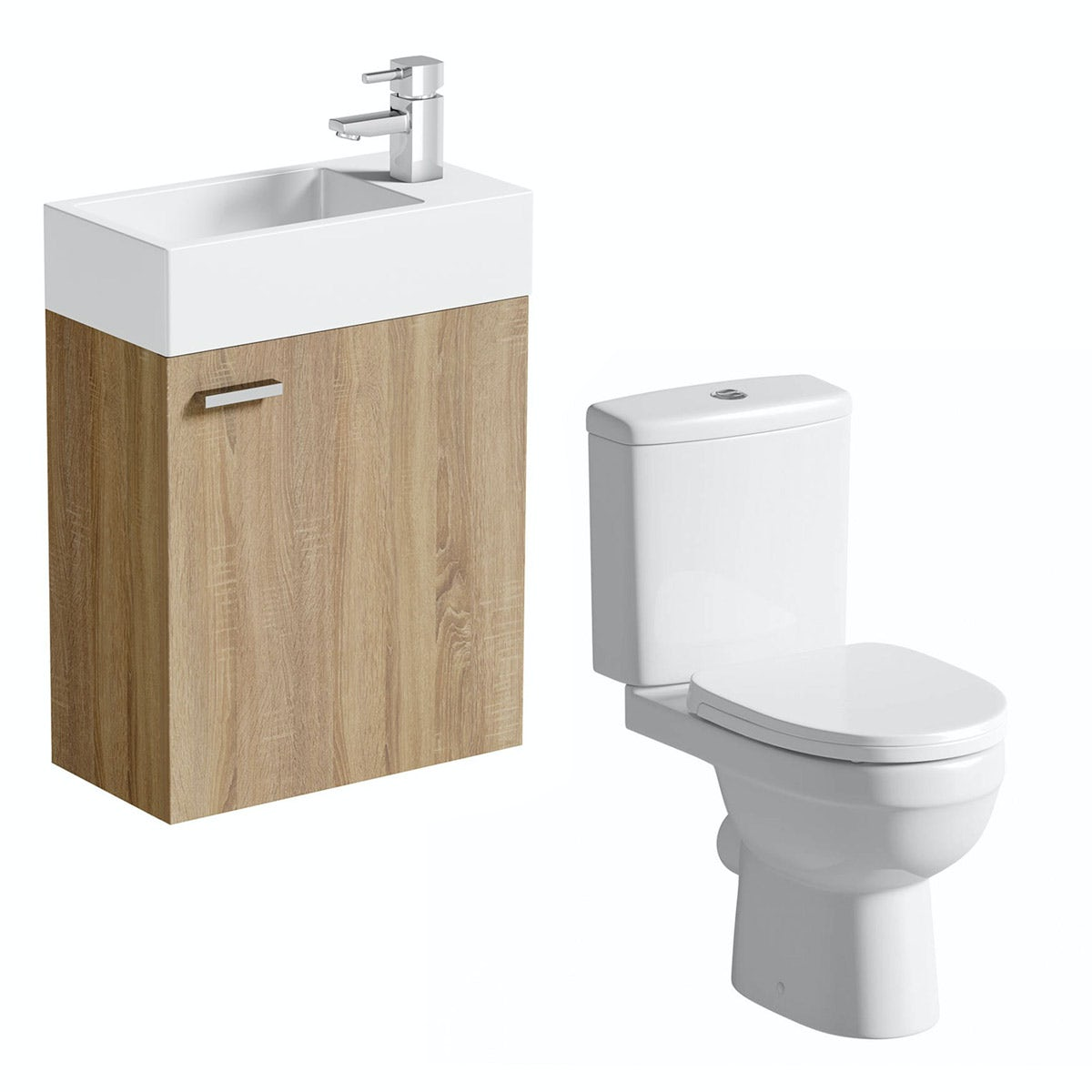 Compact oak wall hung unit with Eden close coupled toilet