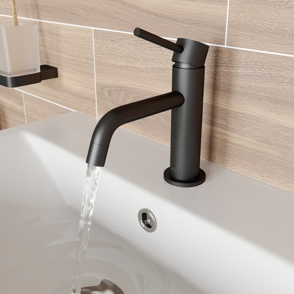 Mode Spencer round black basin mixer tap