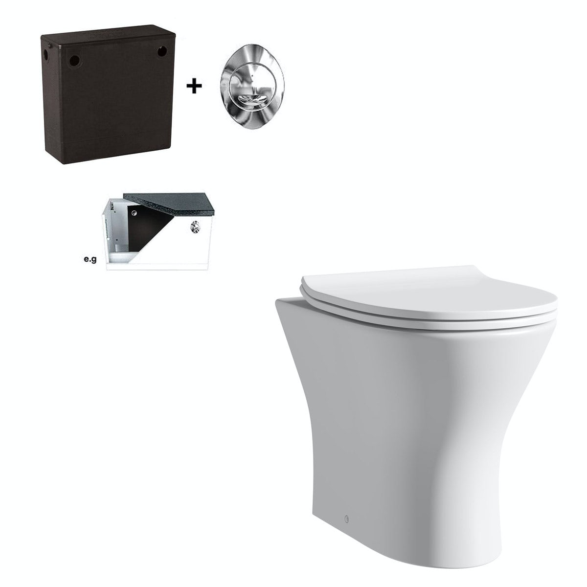 Orchard Derwent round compact back to wall toilet with soft close seat and concealed cistern