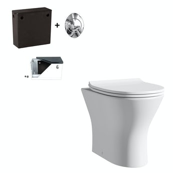 Compact Round back to wall toilet with soft close seat and concealed cistern