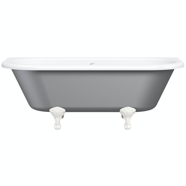 The Bath Co. Dulwich grey back to wall roll top bath with white ball and claw feet 1700 x 750