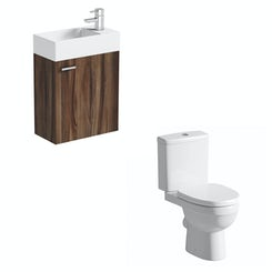 Compact walnut wall hung unit with with Energy close coupled toilet