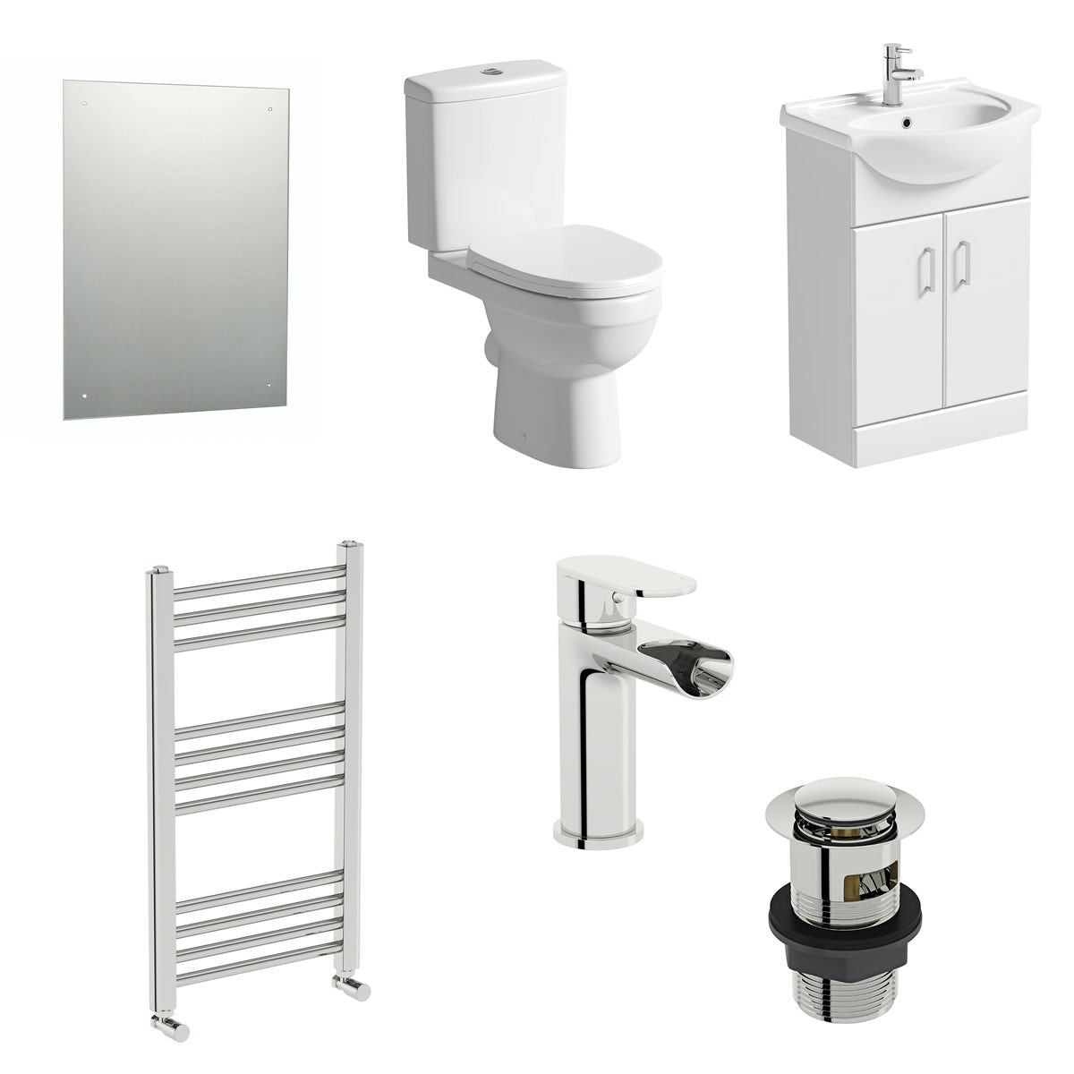 Orchard Eden vanity unit and close coupled toilet with heated towel rail, mirror, tap and waste